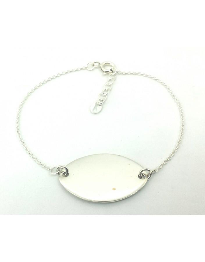 Pulsera  plata 1ª Ley con chapa oval