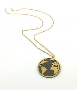 Gargantilla plata dorada mundo