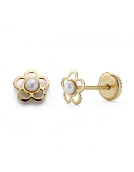 Pendientes flor con perla...
