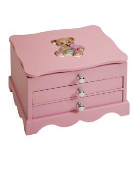 Joyero cajones rosa elefante