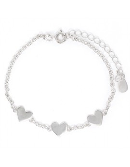 Pulsera de plata corazones...