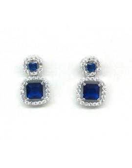 Pendientes plata con circonitas azules
