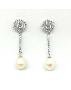 Pendientes plata largos con circonitas y perlas