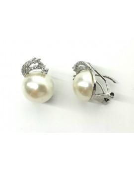 Pendientes plata omega con perla