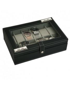 Caja 12 relojes piel negra...