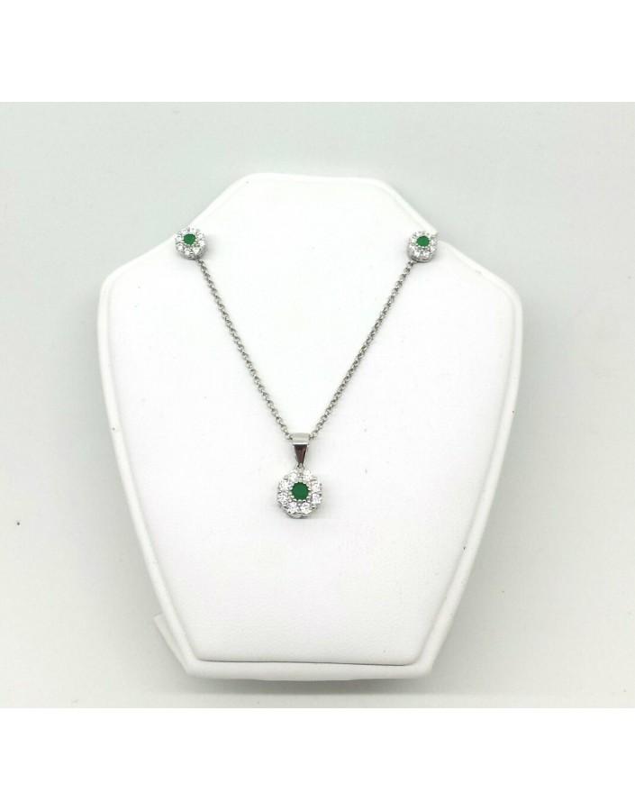 Conjunto plata piedra verde