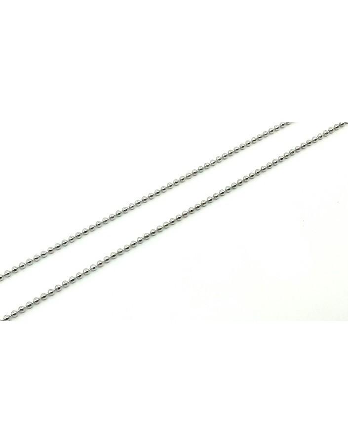 Cadena plata bolitas 33-50 cm.