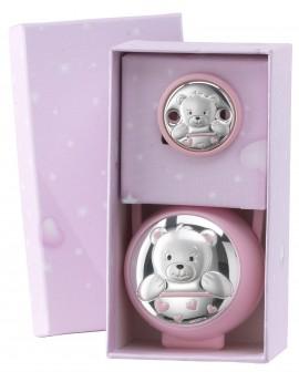 Set Pinza + Portachupetes oso rosa
